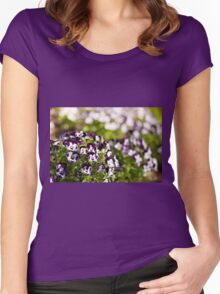 Purple white Viola or pansy variegated flowers  Women's Fitted Scoop T-Shirt