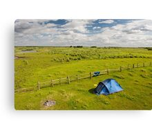 Camping tent and grass expanse landscape  Canvas Print