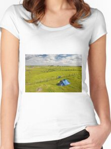 Camping tent and grass expanse landscape  Women's Fitted Scoop T-Shirt