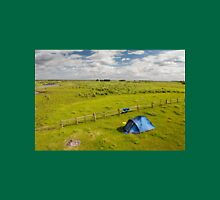 Camping tent and grass expanse landscape  Unisex T-Shirt
