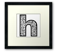 Small h, white background Framed Print