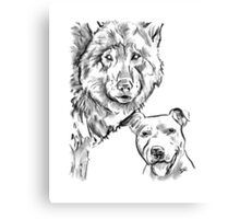 The Staffordshire Bull Terrier and the Wolf Drawing Canvas Print