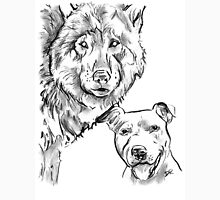 The Staffordshire Bull Terrier and the Wolf Drawing Unisex T-Shirt