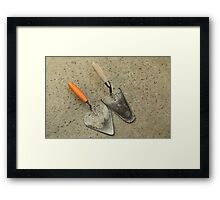Two Old masonry trowels Framed Print