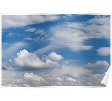 Sunny cirrus and cumulus cloudscape  Poster