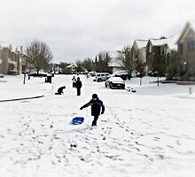 Snow day fun - Neighborhood children at play by littlevane