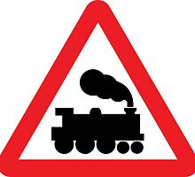 Level Crossing Warning Triangle Road Sign Sticker by ukedward