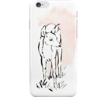 Pink Deer in Brush Pen and Gouache iPhone Case/Skin