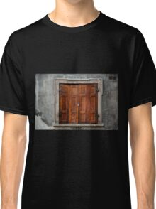 Old wooden shutters close window  Classic T-Shirt