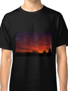 red sunset and trees silhouette in Warsaw  Classic T-Shirt