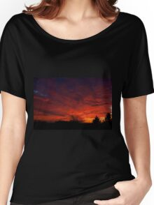 red sunset and trees silhouette in Warsaw  Women's Relaxed Fit T-Shirt