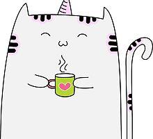 Kitty Unicorn with tea by Stephanie Keyes