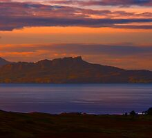 A sunset view to Rhum and Eigg by Chris Thaxter