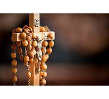Jesus figurine and rosary  Photographic Print