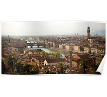 Florence Skyline - Ponte Vecchio from Michaelangelo's Plaza Poster