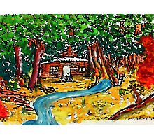 Cabin in the forest, watercolor Photographic Print