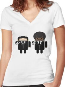 "Say ""Droid"" one more time... Women's Fitted V-Neck T-Shirt"