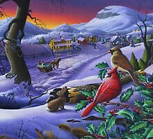 Christmas Sleigh Ride Winter Landscape - Cardinals - Small Town by Walt Curlee