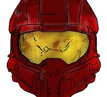 Red Spartan Helmet by fuzzyscene