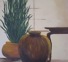 Clay Pots In The Window by Phyllis Frameli