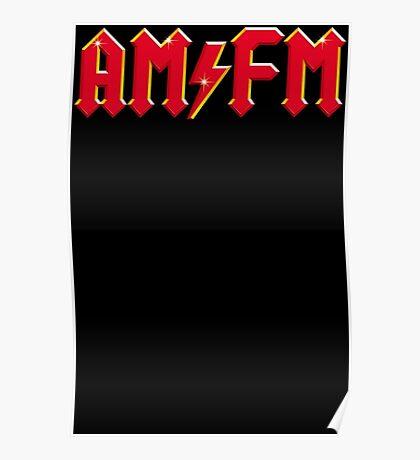 AM FM Classic Red Funny AC DC Logo Scott Bon Angus Back Poster