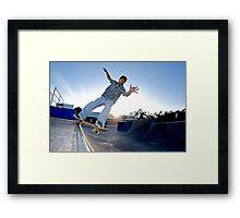 Skateboarder on a grind Framed Print