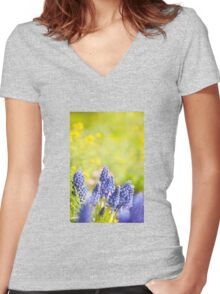 Blue Muscari Mill bunches of grapes  Women's Fitted V-Neck T-Shirt
