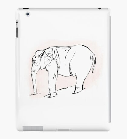 Pink Elephant in Brush Pen and Gouache iPad Case/Skin