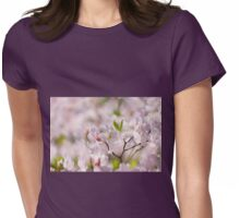 Stem of pink Rhododendron called Azalea flowers  Womens Fitted T-Shirt