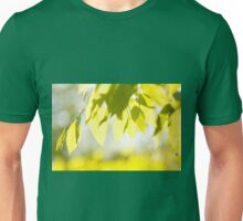 Young Elm leaves on blurred green  Unisex T-Shirt