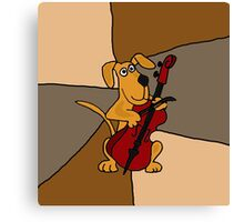 Funky Brown Dog is playing a Red Cello Canvas Print