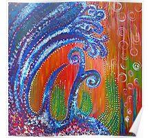 Ocean Floor - acrylic painting by LeahG Poster