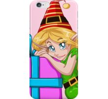 Elf Girl Leaning On Present For Christmas iPhone Case/Skin