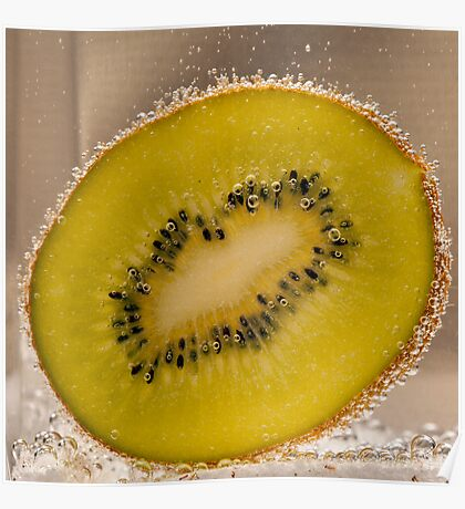 Kiwi Fruit With Bubbles Poster