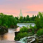 Waterfall Sunrise Idaho Falls Temple 20x30 by Ken Fortie