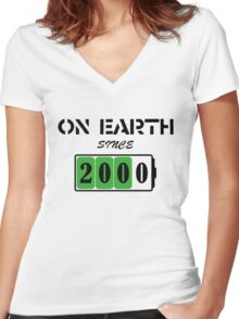 On Earth Since 2000 Women's Fitted V-Neck T-Shirt