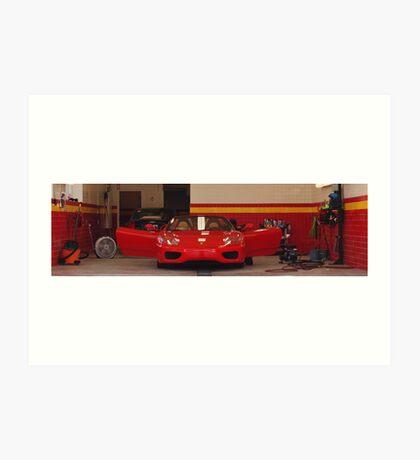 Ferrari in a garage Art Print