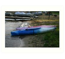 kayaks on the shore Art Print