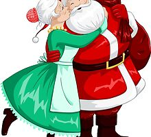 Mrs Claus Kisses Santa On Cheek And Hugs by Liron Peer