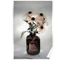 Old brown snuff bottle with flowers Poster