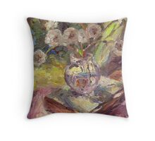Dandeloin flowers in a vase sunny still life painting Throw Pillow