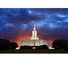 Jordan River Temple Stormy Sunset 20x30 Photographic Print