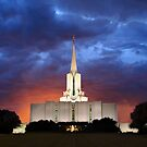 Jordan River Temple Stormy Sunset 20x24 by Ken Fortie