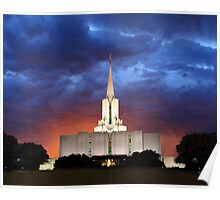 Jordan River Temple Stormy Sunset 20x24 Poster