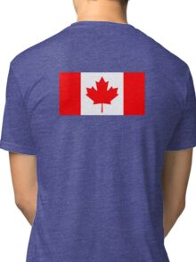 "Canadian Flag, National Flag of Canada, Canada, ""A Mari Usque Ad Mare""  Pure & Simple on Black,  Tri-blend T-Shirt"