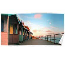 Cornish Beach Huts Poster