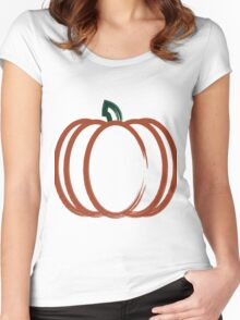 Autumn Harvest Orange Pumpkin Artwork Women's Fitted Scoop T-Shirt