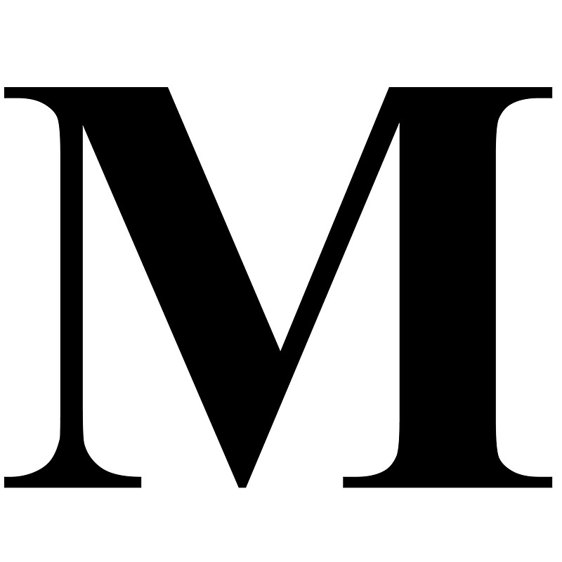 The Letter M In Black Times New Roman Serif Font Typeface