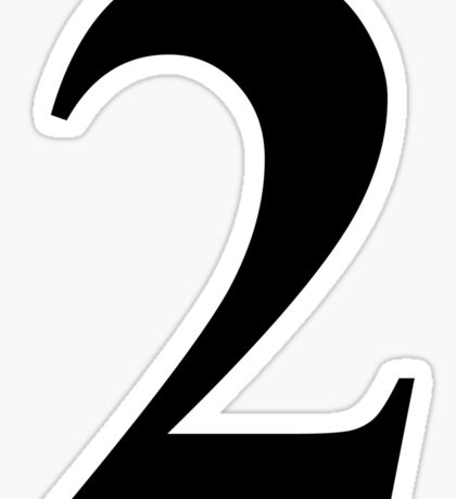 Number 2 in Black Times New Roman Serif Font Typeface Sticker