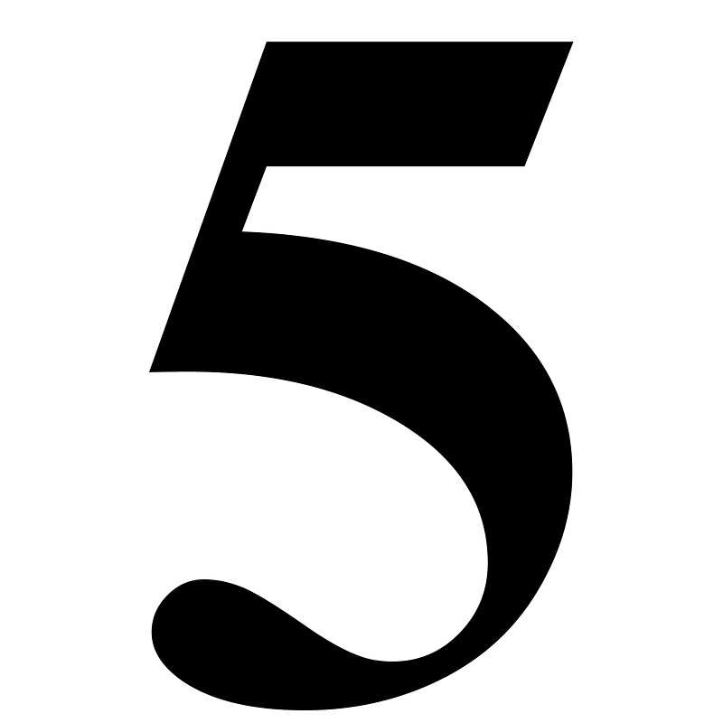 """Number 5 in Black Times New Roman Serif Font Typeface"""" Stickers by ..."""